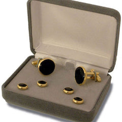 Navy Cuff Links and Shirt Stud: Black Onyx with Gold Backing - set of 4