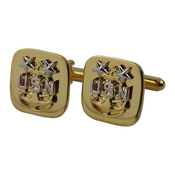 Navy Cuff Links: E9 Chief Petty Officer: Master - gold