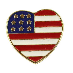 Lapel Pin American Heart Flag