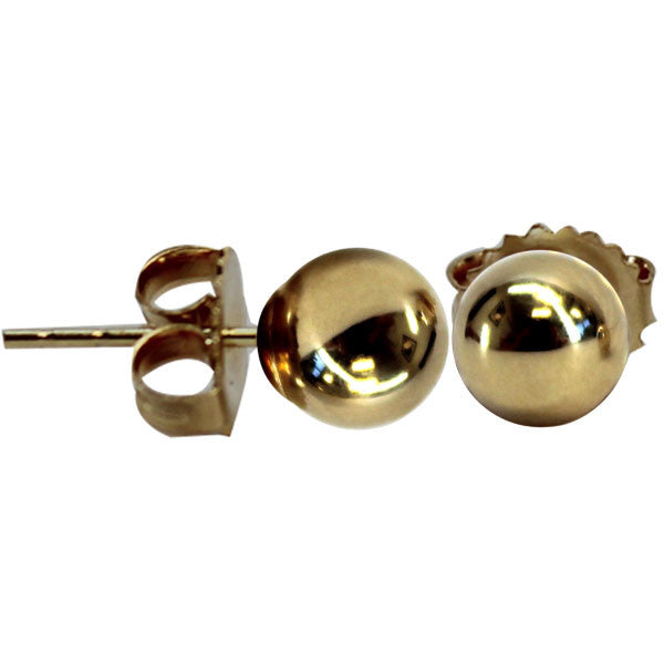 Earrings - 14KT brite yellow gold ball