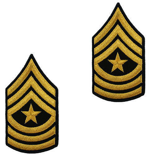 Army Chevron: Sergeant Major - gold embroidered on green, male (NON-RETURNABLE/NON-REFUNDABLE)