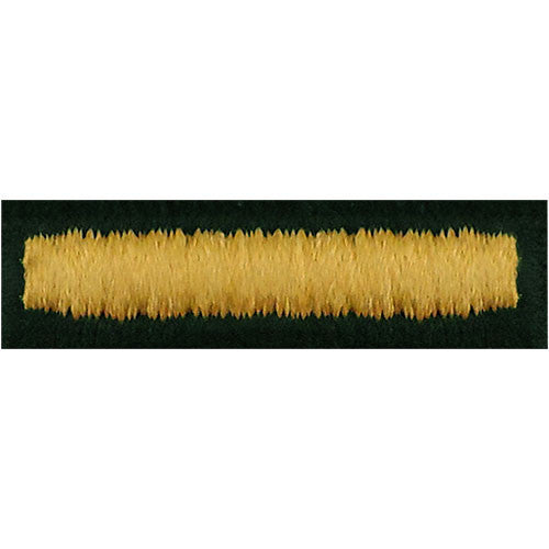 Army Embroidered Bar: Overseas - embroidered gold on green, male (NON-RETURNABLE/NON-REFUNDABLE)