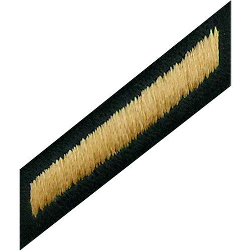Army Service Stripe Hash Mark: Male - gold embroidered on green (NON-RETURNABLE/NON-REFUNDABLE)