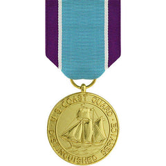 Full Size Medal: Coast Guard Distinguished Service - 24k Gold Plated