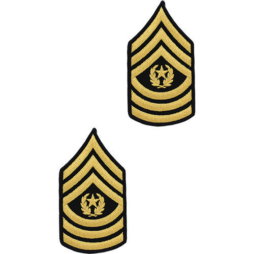 Army Chevron: Command Sergeant Major - gold embroidered on green, male (NON-RETURNABLE/NON-REFUNDABLE)