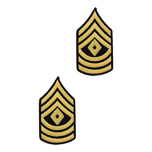 Army Chevron: First Sergeant - gold embroidered on blue, female