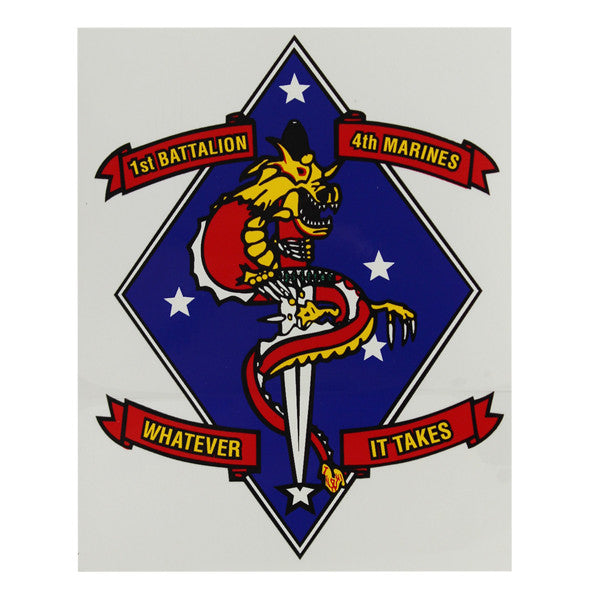 Decal: Marine Corps 1st Battalion 4th Marines - Whatever It Takes