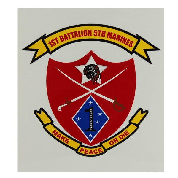 Decal: Marine Corps 1st Battalion 5th Marine Regiment - Make Peace or Die