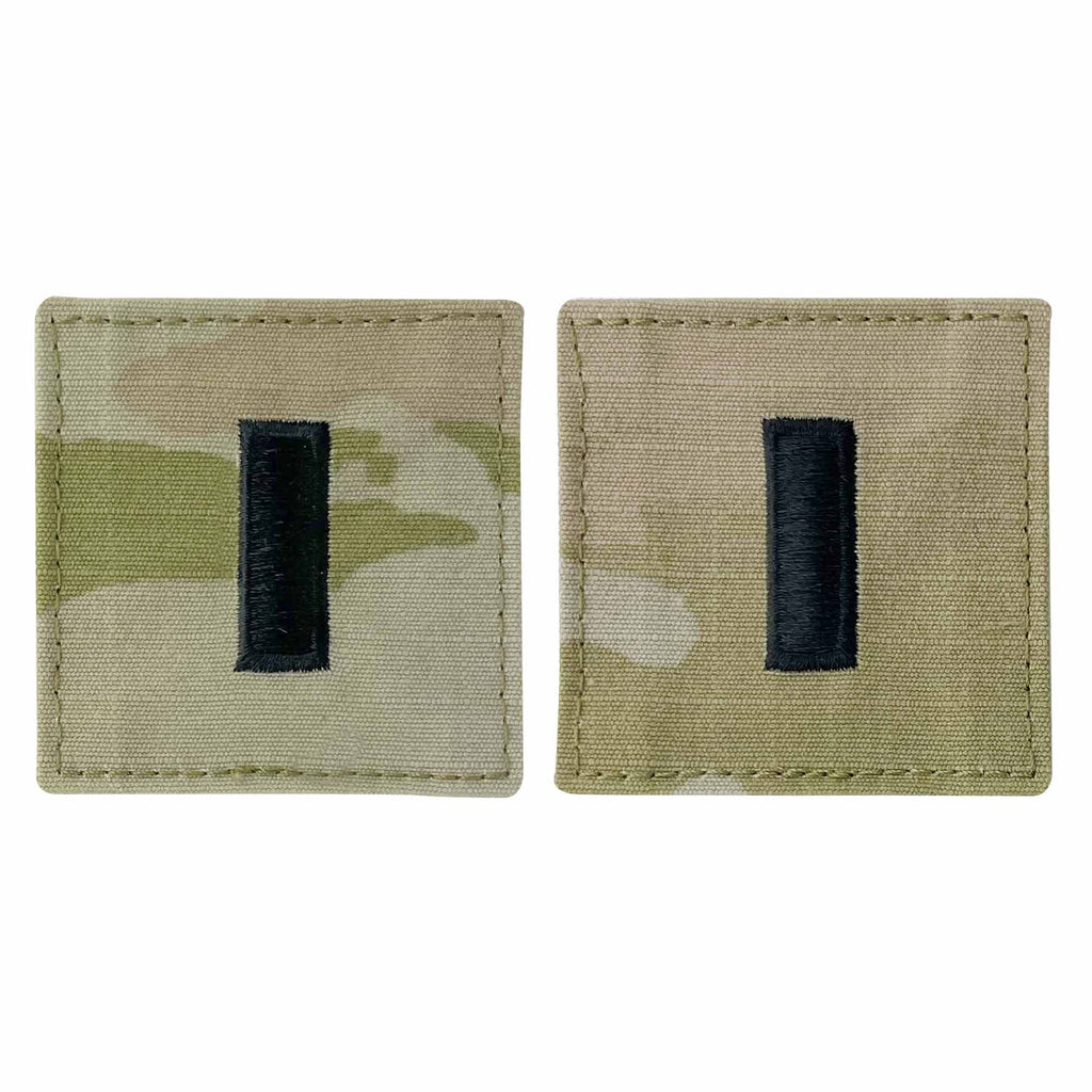 Army and Air Force Embroidered OCP with Hook Officer Rank Insignia: First Lieutenant