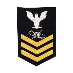 Navy E6 MALE Rating Badge: MC Mass Communication Specialist - blue