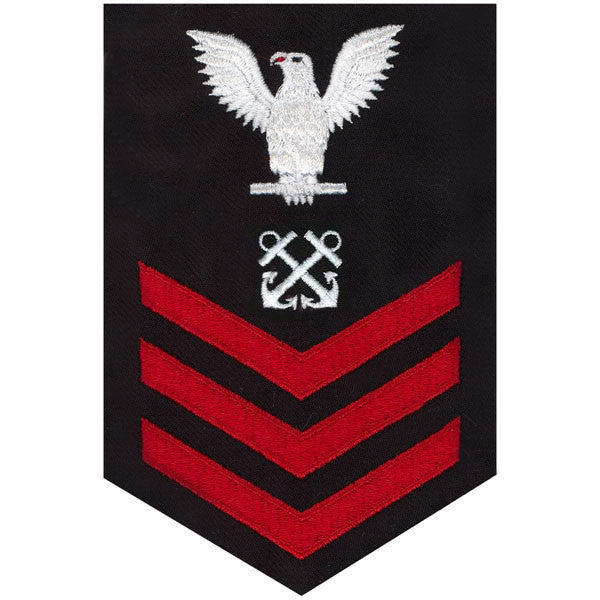 Navy E6 MALE Rating Badge: Boatswain's Mate - red chevrons on blue serge