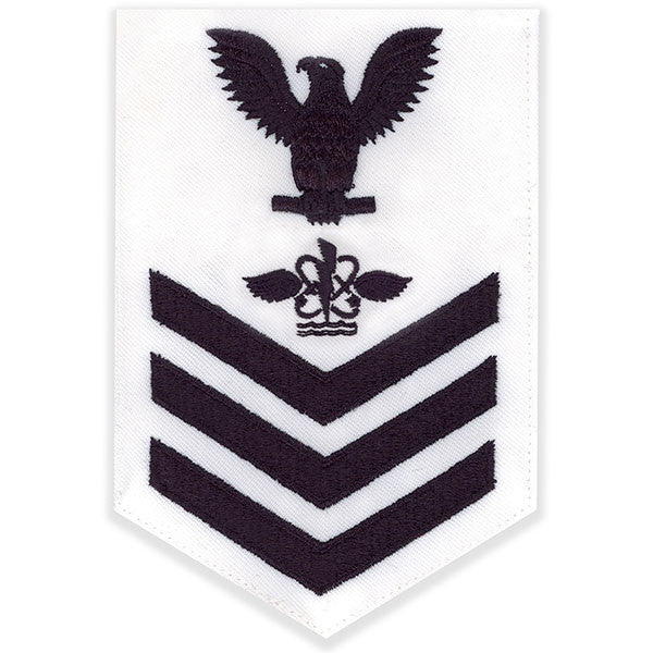 Navy E6 Rating Badge: Aviation Antisub Warfare Operator - white