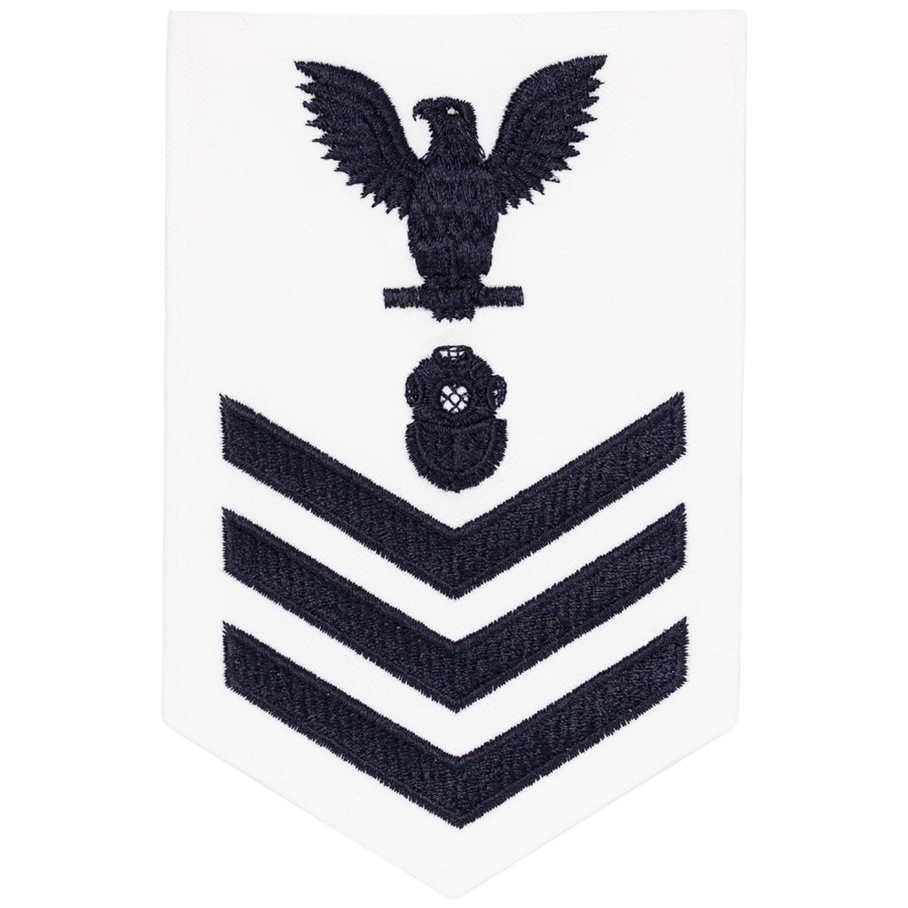 Navy E6 MALE Rating Badge: Navy Diver - white
