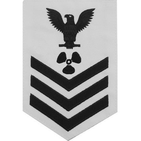 Navy E6 Rating Badge: Machinist's Mate - white