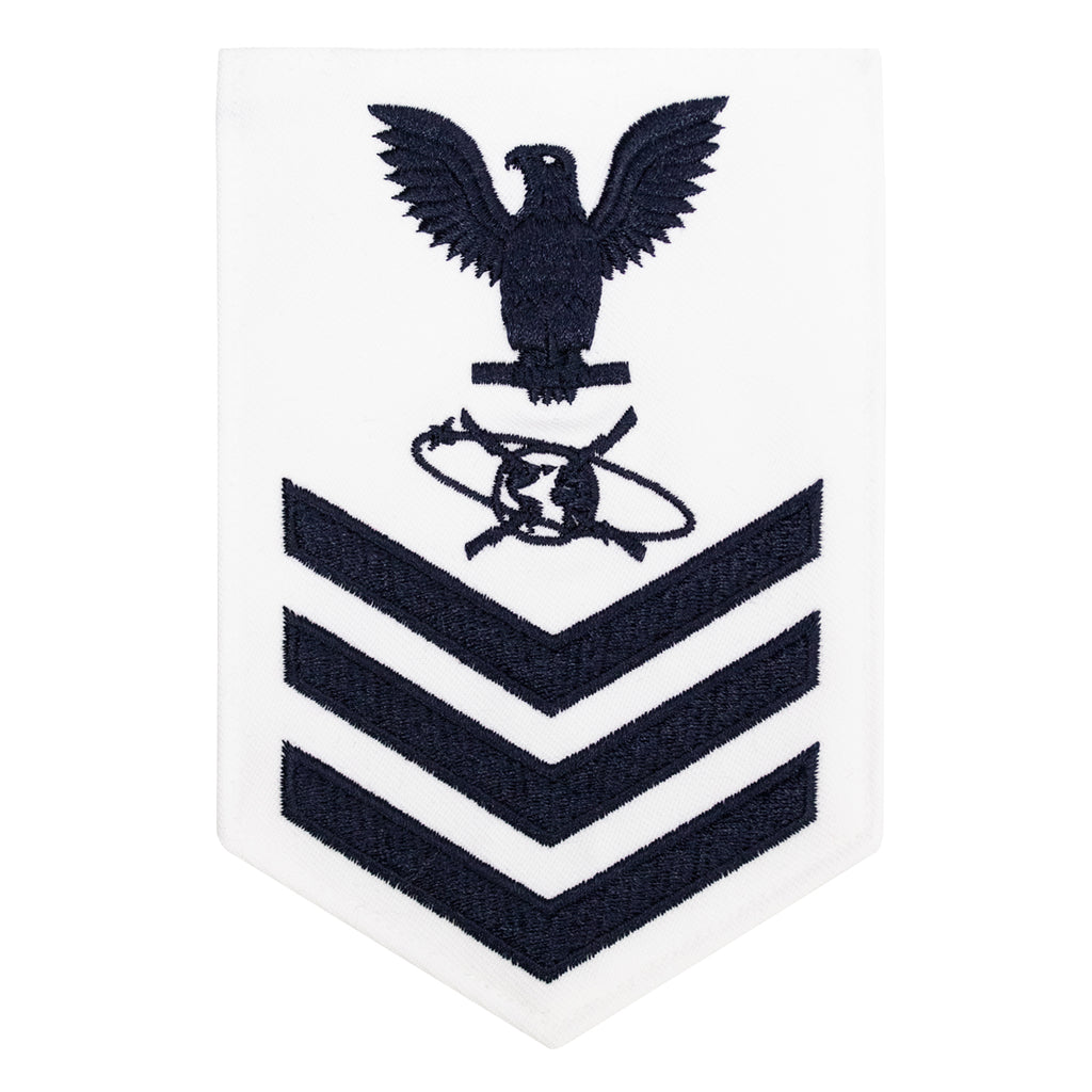 Navy E6 MALE Rating Badge: Mass Communication Specialist - white