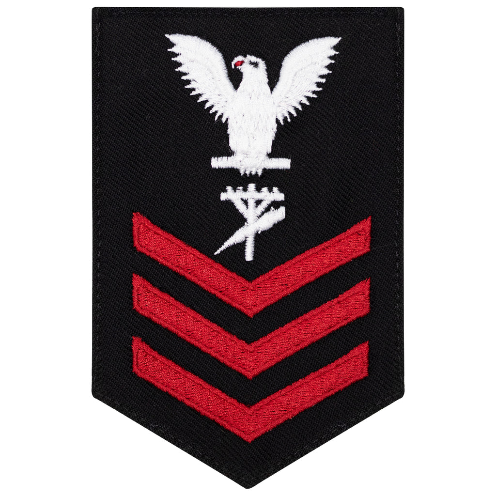 Navy E6 FEMALE Rating Badge: Construction Electrician - New Serge for Jumper