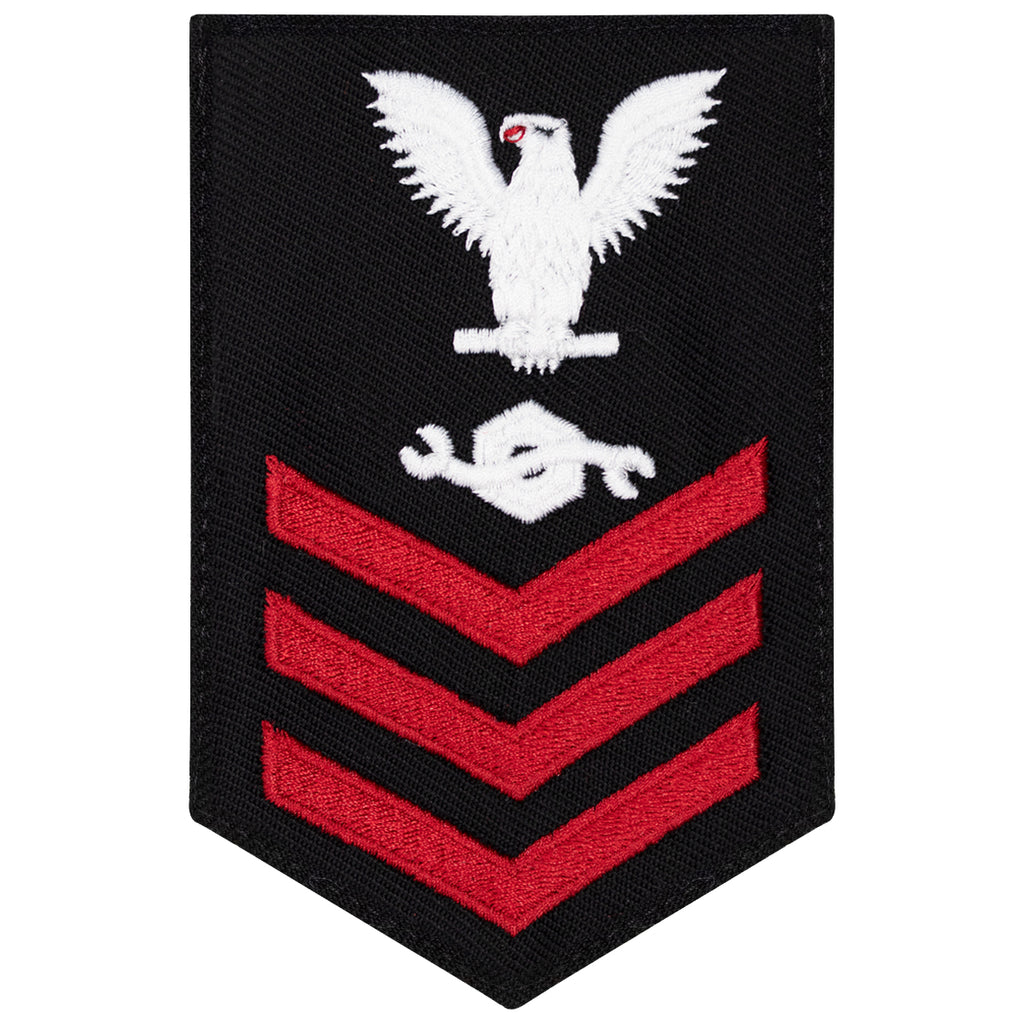 Navy E6 FEMALE Rating Badge: Construction Mechanic - New Serge for Jumper
