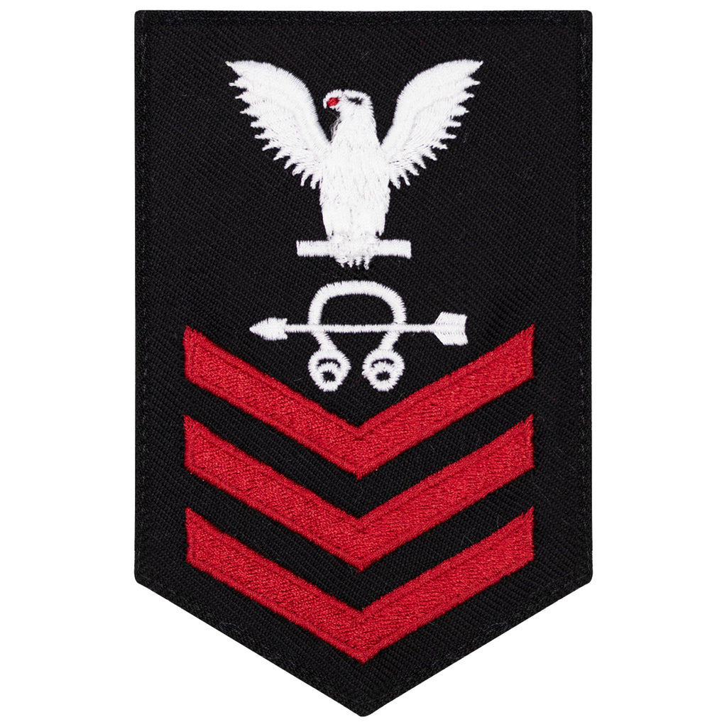 Navy E6 FEMALE Rating Badge: Sonar Tech - New Serge for Jumper