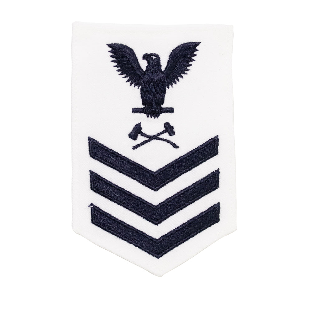 Navy E6 FEMALE Rating Badge: Damage Controlman - white