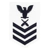 Navy E6 FEMALE Rating Badge: Gunner's Mate - white