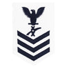 Navy E6 FEMALE Rating Badge: Legalman - white