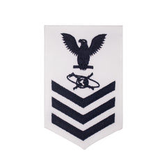 Navy E6 FEMALE Rating Badge: Mass Communication Specialist - white