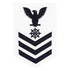Navy E6 FEMALE Rating Badge: Quartermaster - white