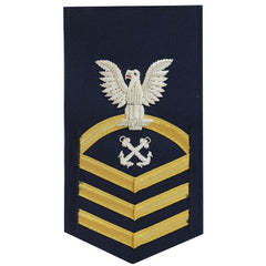 Coast Guard E7 Male Rating Badge: Boatswain Mate - blue