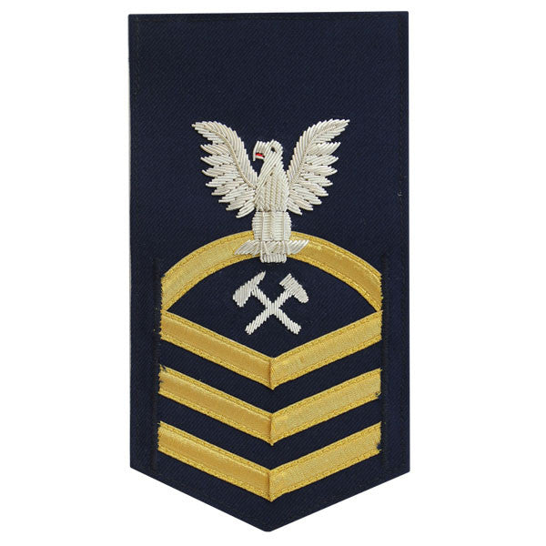 Coast Guard E7 Male Rating Badge: Damage Control - blue