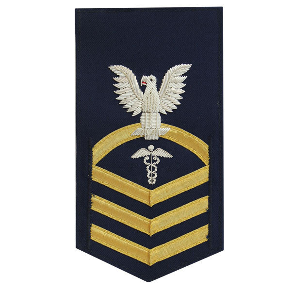 Coast Guard E7 Male Rating Badge: Health Service Technician - blue