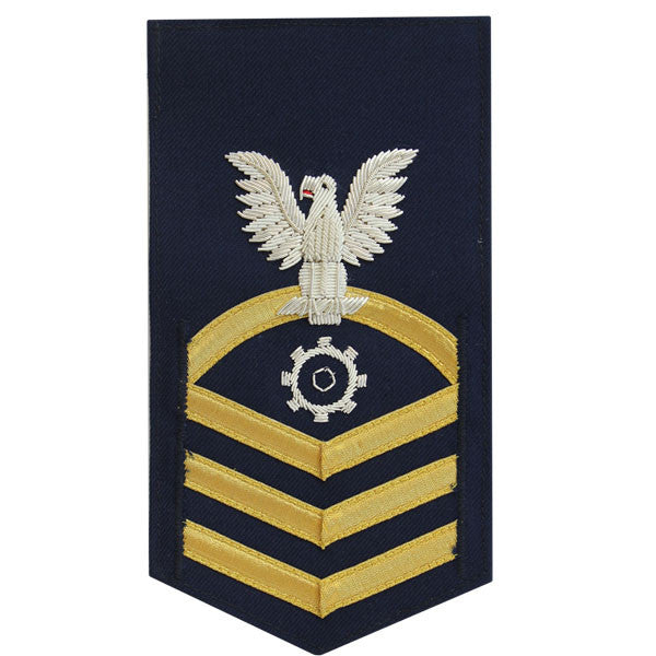 Coast Guard E7 Male Rating Badge: Machinery Technician - blue