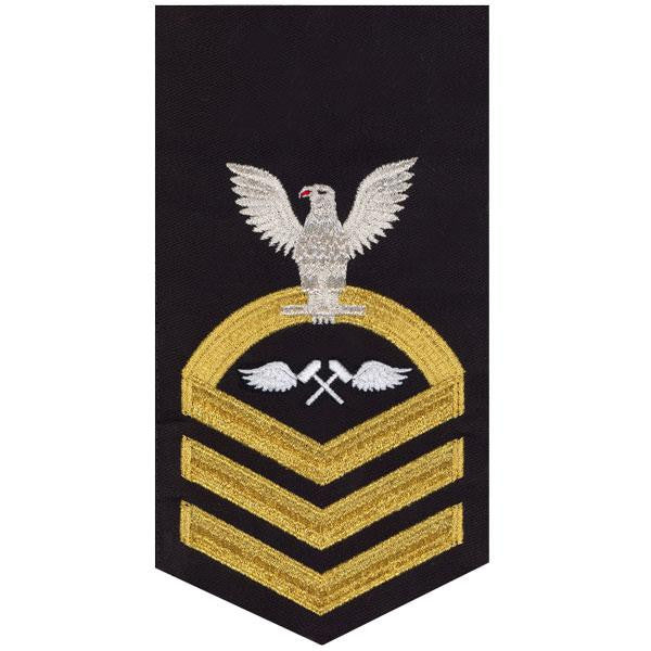 Navy E7 Rating Badge: Aviation Structure Mechanic - seaworthy gold on blue