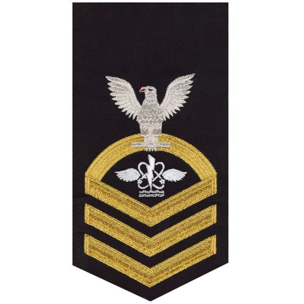 Navy E7 MALE Rating Badge: Aviation Antisub Warfare Operator - seaworthy gold on blue