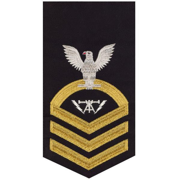 Navy E7 Rating Badge: Fire Controlman - seaworthy gold on blue