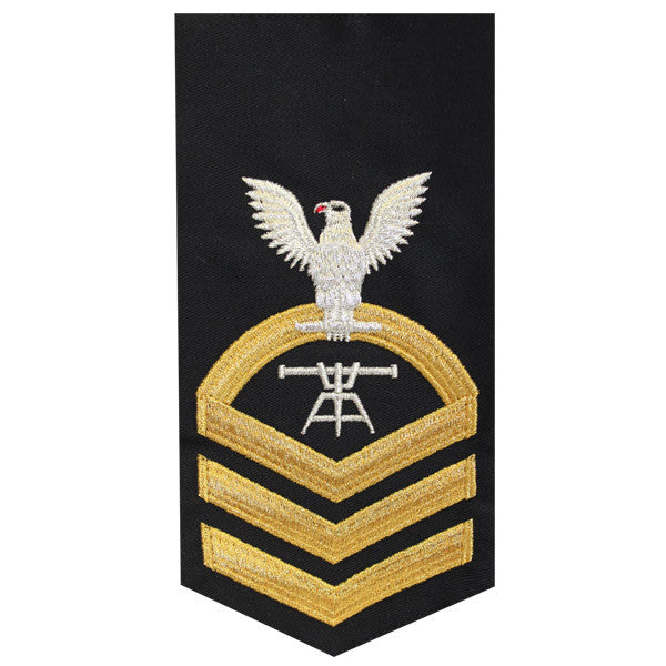 Navy E7 Rating Badge: Fire Control Technician - seaworthy gold on blue