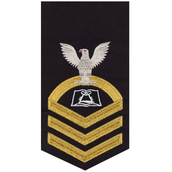 Navy E7 Rating Badge: Culinary Specialist - seaworthy gold on blue