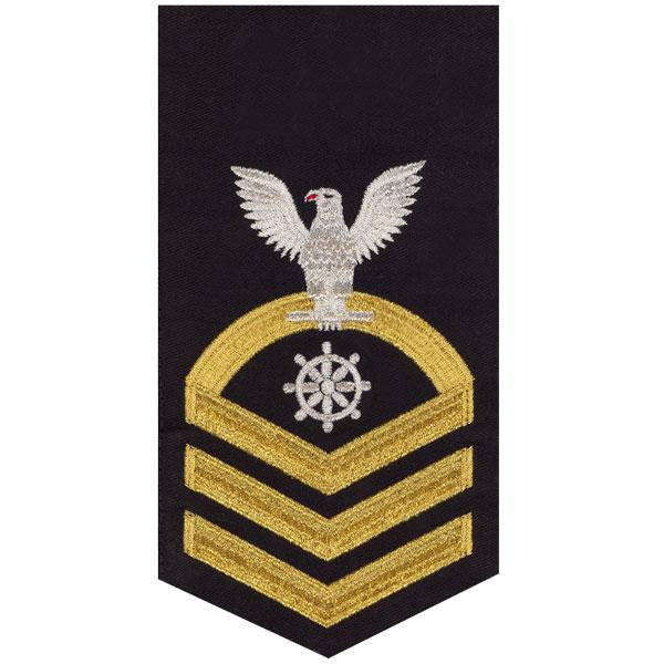 Navy E7 MALE Rating Badge: Quartermaster - seaworthy gold on blue
