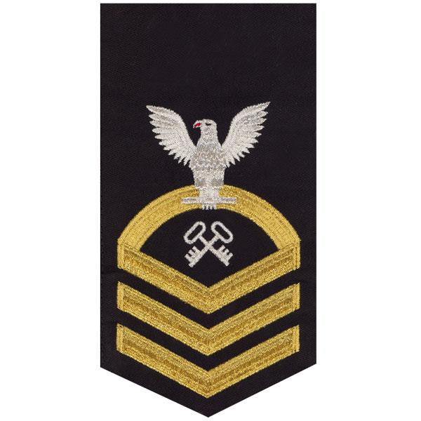 Navy E7 MALE Rating Badge: Storekeeper and Logistics Specialist - seaworthy gold on blue