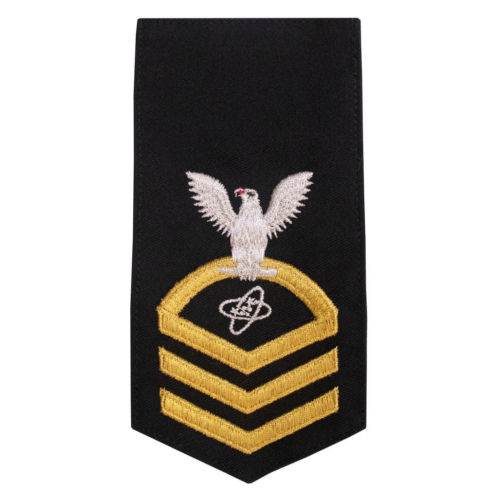Navy E7 FEMALE Rating Badge: ET Electronics Technician - seaworthy gold on blue