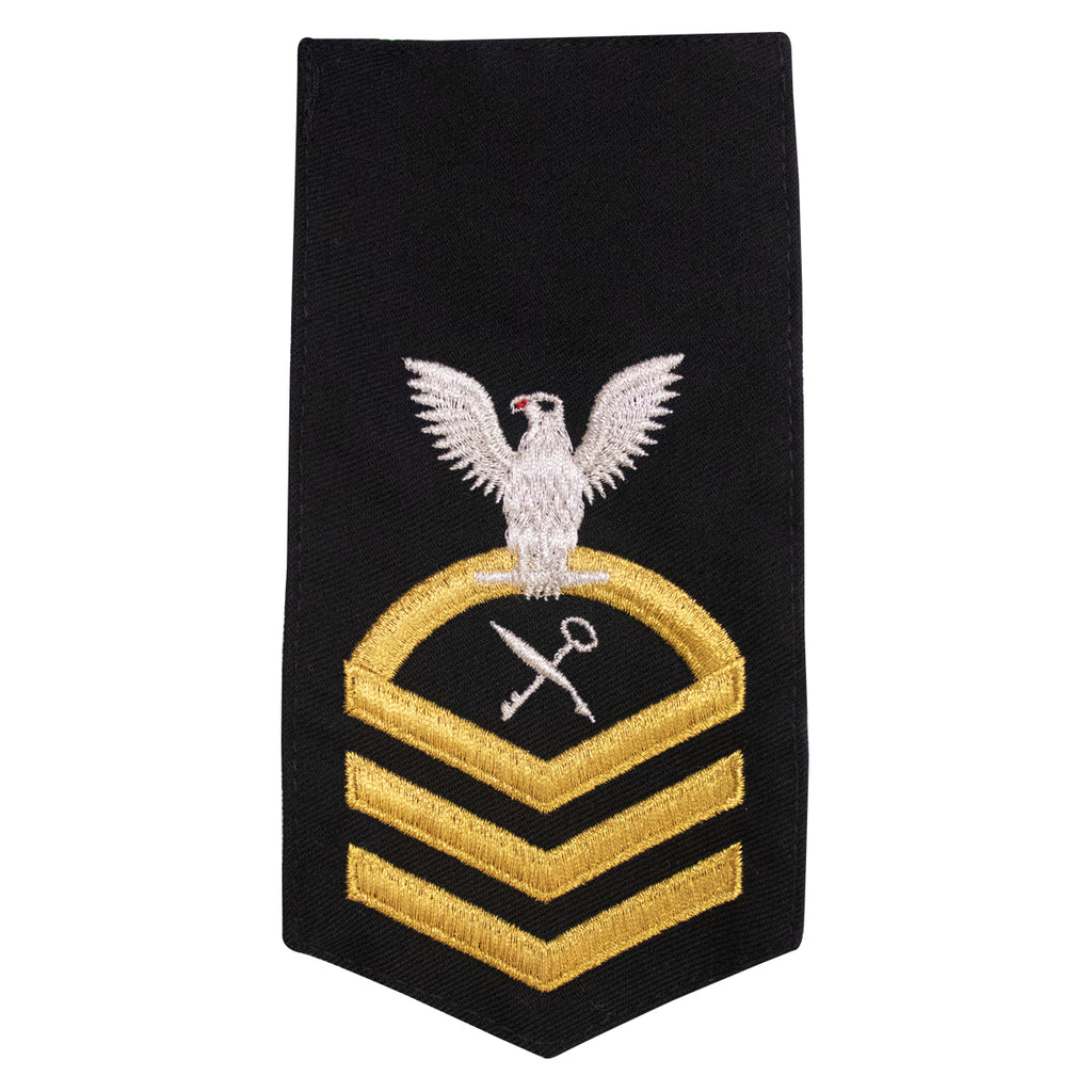 Navy E7 FEMALE Rating Badge: SH Ships Serviceman - seaworthy gold on blue