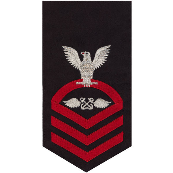 Navy E7 Rating Badge: Aviation Boatswain's Mate - seaworthy red on blue
