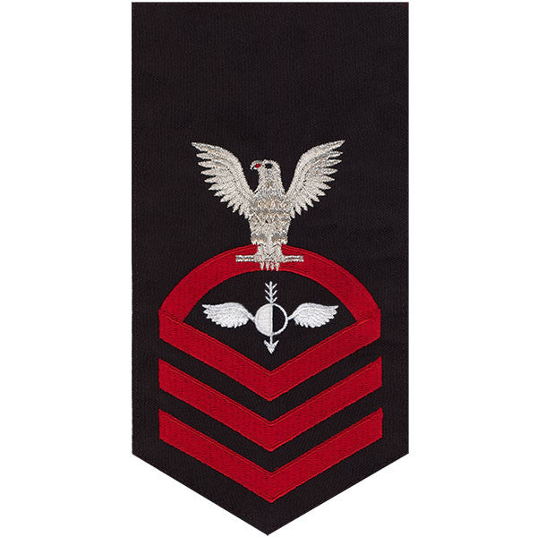 Navy E7 Rating Badge: Aerographer's Mate - seaworthy red on blue