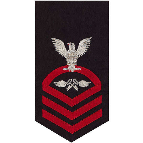 Navy E7 Rating Badge: Aviation Storekeeper - seaworthy red on blue