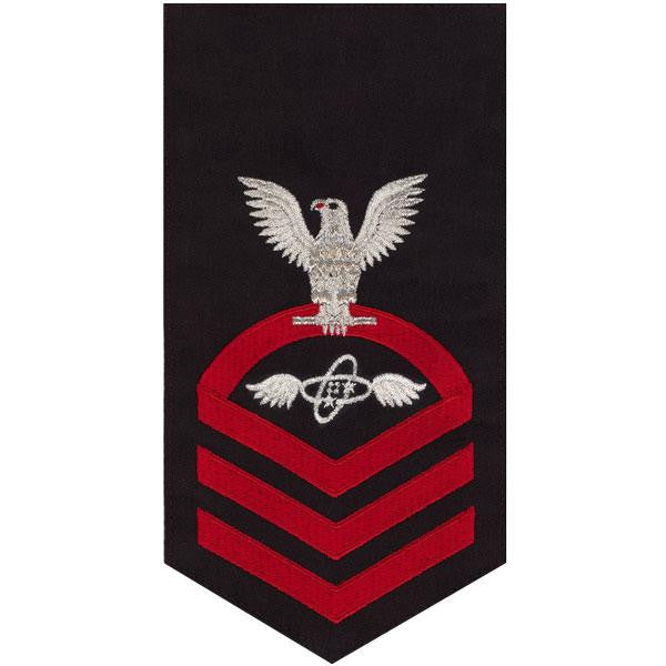 Navy E7 Rating Badge: Aviation Electronics Technician - seaworthy red on blue