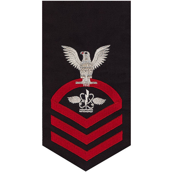 Navy E7 Rating Badge: Aviation Antisub Warfare Operator - seaworthy red on blue