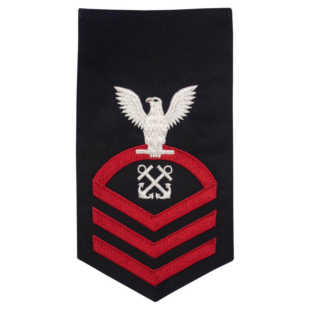 Navy E7 MALE Rating Badge: Boatswains Mate - seaworthy red on blue