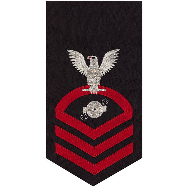 Navy E7 Rating Badge: Boiler Technician - seaworthy red on blue