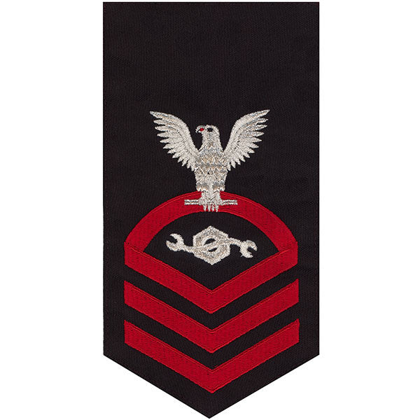 Navy E7 Rating Badge: Construction Mechanic - seaworthy red on blue