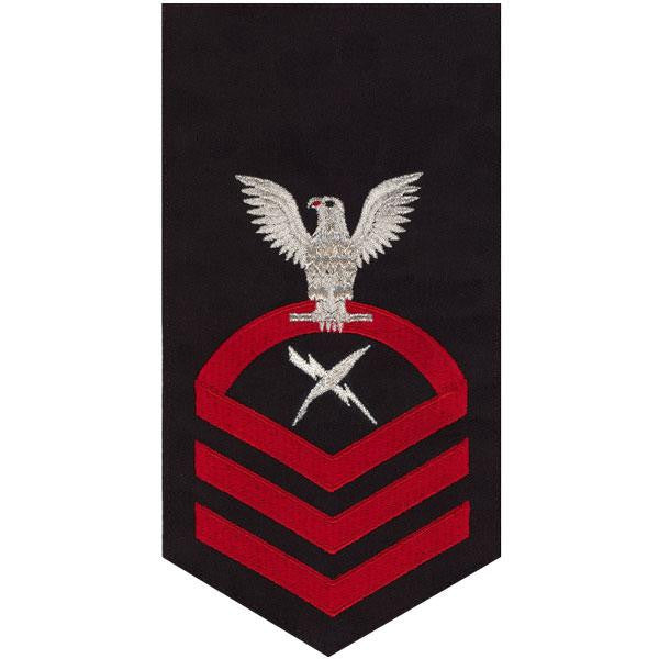 Navy E7 Rating Badge: Cryptologic Technician - seaworthy red on blue