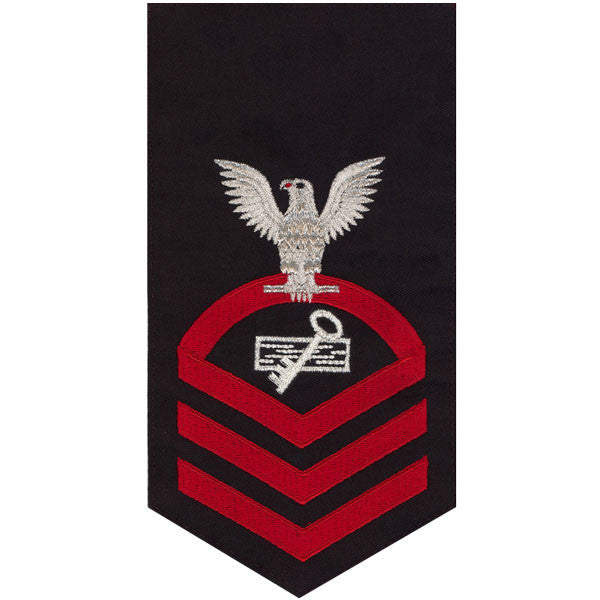 Navy E7 MALE Rating Badge: Disbursing Clerk - seaworthy red on blue